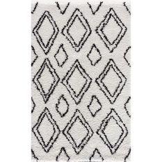 NAZAR Tapis de salon Shaggy longues meches style Berbere - 120 x 160 cm - Blanc et creme