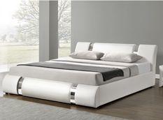Lit design coffre 140x190 cm similicuir blanc et métal Ange