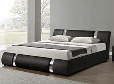 Lit design coffre 140x190 cm similicuir noir et métal Ange