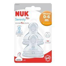 NUK 2 Tétines Silicone Base large SERENITY+ 0-6 m L Lait infantile