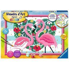 Numéro d'art - grand format - Flamingos amoureux - Ravensburger - Kit complet de Peinture au numéro - Des 9 ans