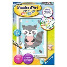 Numéro d'art - mini format - Raton laveur - Ravensburger - Kit complet de Peinture au numéro - Des 7 ans