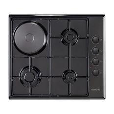 OCEANIC CTM3G1EB - Table de cuisson mixte gaz / électrique-4 foyers-L58xP51cm-Revetement email-Noir