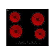 OCEANIC TV4ZSE Table cuisson vitrocéramique-4 zones-6000W-L59xP52cm-Revetement verre-Noir