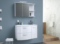 Meuble de Salle de bain simple vasque L 90cm - Blanc brillant