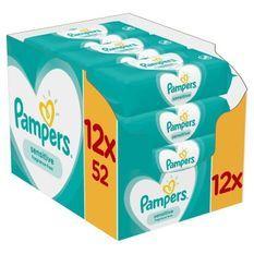 PAMPERS Lingettes bébé SENSITIVE - Lot de 12 x 52 lingettes - 624 lingettes