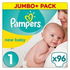Pampers Premium Protection New Baby Taille 1 (Nouveau-Né) 2-5 kg, 96 Couches - Jumbo Pack
