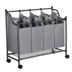 Panier à linge sur roulettes avec 4 sacs amovibles gris 35L