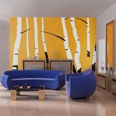 Papier peint Birches on the orange background