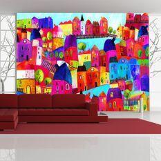 Papier peint Rainbow-hued town