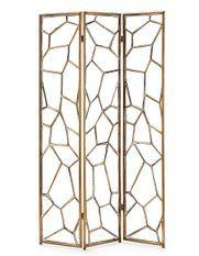 Paravent décoratif 3 volets métal doré