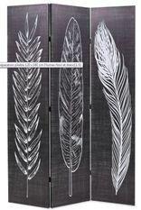 Paravent décoratif imprimé 3 volets bois et tissu noir et blanc Kokko