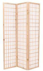 Paravent style japonais 3 volets bois naturel et blanc Oriental