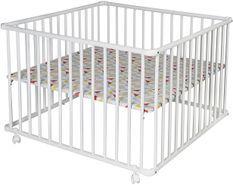 Parc bébé hêtre massif blanc Basic 75x100 cm