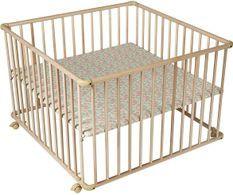 Parc bébé hêtre massif clair Basic 100x100 cm