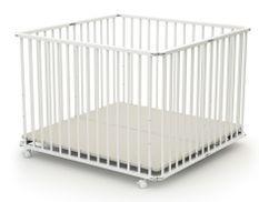 Parc bébé pliant et réglable 100x100 cm hêtre massif blanc Webaby
