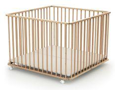 Parc bébé pliant et réglable 100x100 cm hêtre verni Webaby