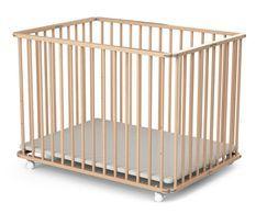 Parc bébé pliant et réglable 70x100 cm hêtre verni Webaby