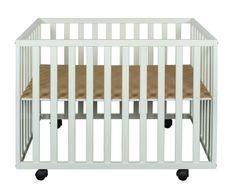 Parc bébé sur roulettes hêtre massif blanc Meline 73x97 cm