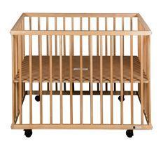 Parc bébé sur roulettes hêtre massif clair Meline 73x97 cm