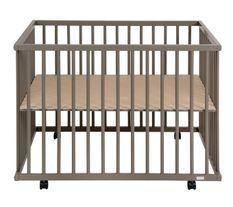 Parc bébé sur roulettes hêtre massif taupe Meline 73x97 cm