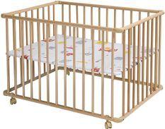 Parc bébé sur roulettes hêtre massif clair Basic 75x100 cm