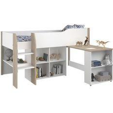 PARISOT Combiné enfant - Décor blanc et chene jackson - Sommier inclus - 90x200 cm - LIAM