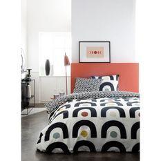 Parure de lit 2 personnes 220X240 Coton imprime beige Graphique SUNSHINE 4.19
