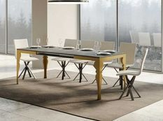 Table extensible 8 à 20 personnes gris béton et pieds métal doré L 180 à 440 cm Torza