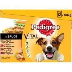 PEDIGREE Sachets fraîcheur en sauce 4 variétés - Pour chien - 12x 100 g