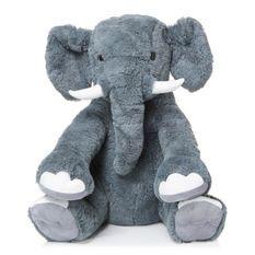 Peluche Elephant géant assis - 78 cm - gris