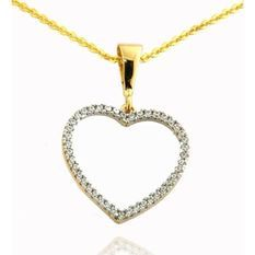 Pendentif Médaillon Coeur Or Jaune 375/1000 & Zirconium