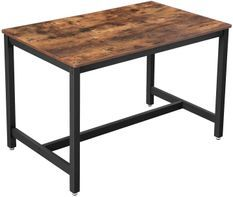 Petite table à manger industriel bois vintage et acier noir Kaza 120 cm
