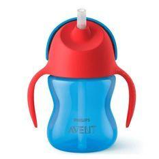 PHILIPS AVENT SCF796/01 Tasse a paille - 200ml - 9 mois+ - Bleu/Rouge - Paille flexible