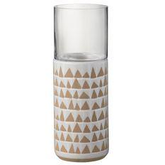 Photophore céramique blanc et marron Praji H 43 cm