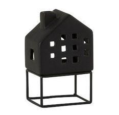 Photophore maison porcelaine noire Narsh 7 cm