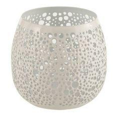 Photophore métal laqué blanc Ettis H 12 cm
