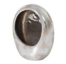 Photophore œuf céramique argenté Licia L 15 cm