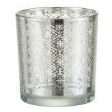 Photophore verre argenté Omani H 8 cm