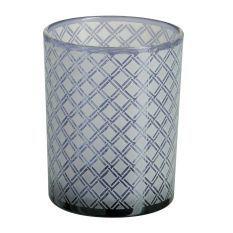 Photophore verre bleu lavande Kimen H 12 cm - Lot de 8