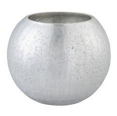 Photophore verre craquelé argenté mat Licia D 20 cm