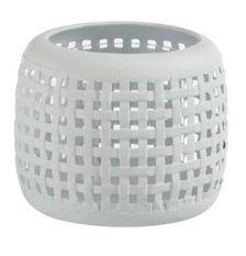 Photophore verre et métal blanc Ettis H 11 cm