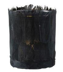 Photophore verre et plumes noires Ysarg 8 cm