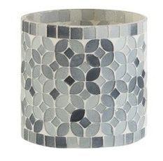 Photophore verre mosaïque gris Marino H 9 cm