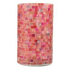 Photophore verre rose à mosaïque Veeda H 23 cm