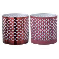 Photophores à motifs verre rouge et blanc Winno H 15 - Lot de 6