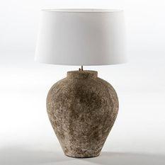 Pied de lampe en terre cuite grise Michka H 55 cm