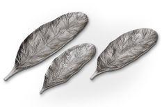 Plateau décoratif feuille en métal Fila - Lot de 3