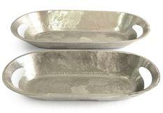 Plateau oval en métal Fila - Lot de 2
