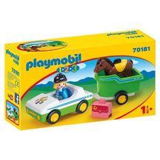 PLAYMOBIL 1 2 3 - 70181 - Cavaliere avec voiture et remorque